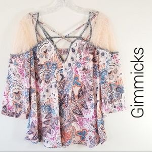 Gimmicks Size XS Lace Shoulder Boho Top 3288